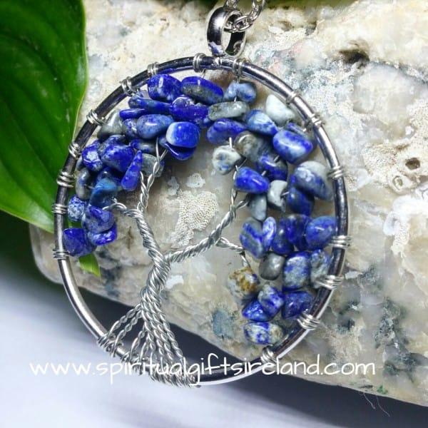 Lapis Lazuli and Sodalite Tree of Life Gemstone Crystal Pendant