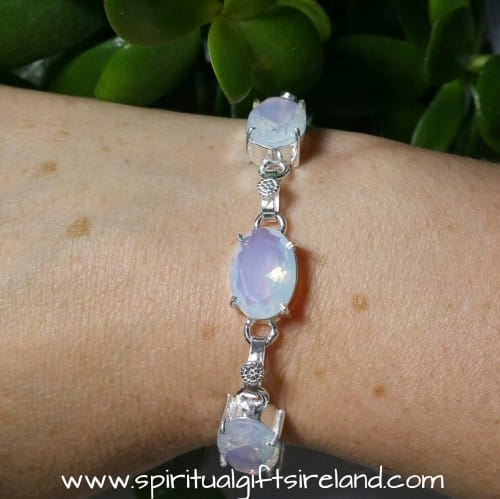Opalite Mystic Light Gemstone Crystal Bracelet Sterling Silver