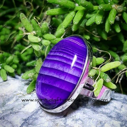 Purple Agate Ring Adjustable Size