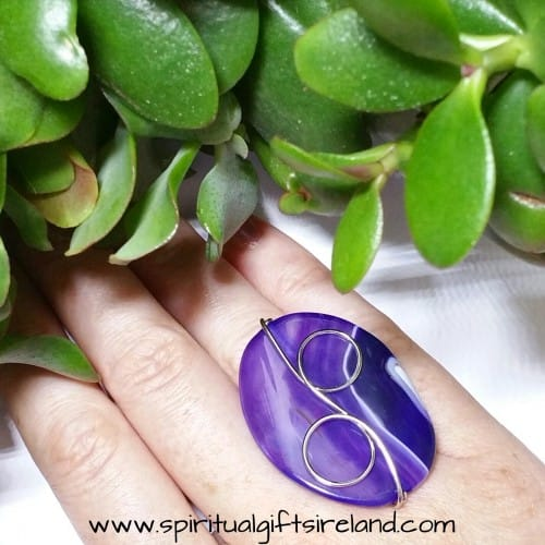 Purple Banded Agate Crystal Gemstone Ring Adjustable Size