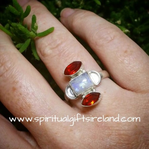 Rainbow Moonstone Red Garnet Crystal Gemstone Sterling Silver Ring