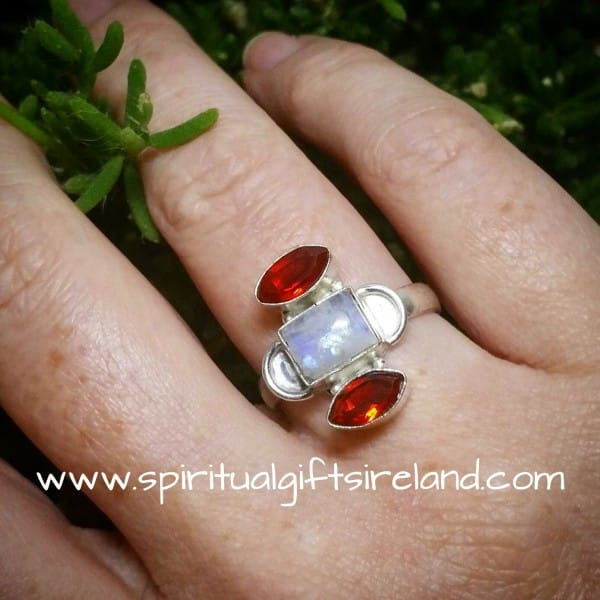 Rainbow Moonstone Red Garnet Ring
