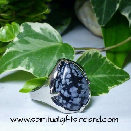 Snowflake Obsidian Adjustable Size Crystal Gemstone Ring