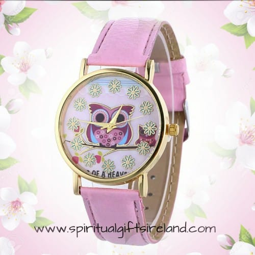 Wise Owl Pink Quartz Wristwatch
