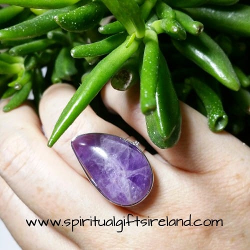 Amethyst Water Droplet Adjustable Size Crystal Gemstone Handmade Ring