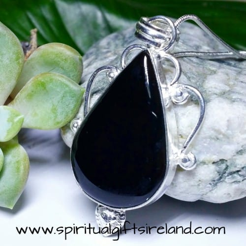 Black Onyx Warrior Gemstone Pendant Sterling Silver