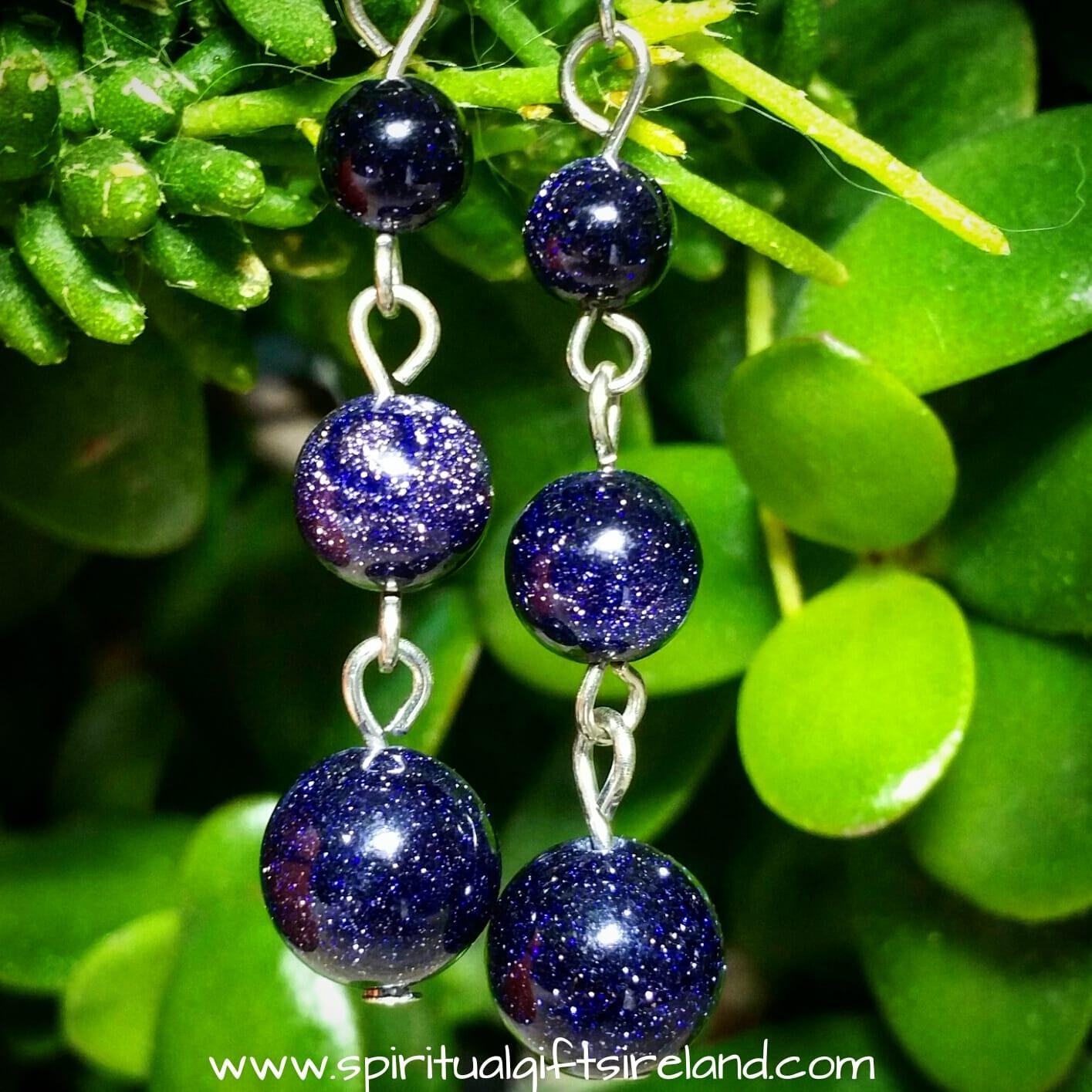 Blue Goldstone Crystal Gemstone 3 Wishes Earrings