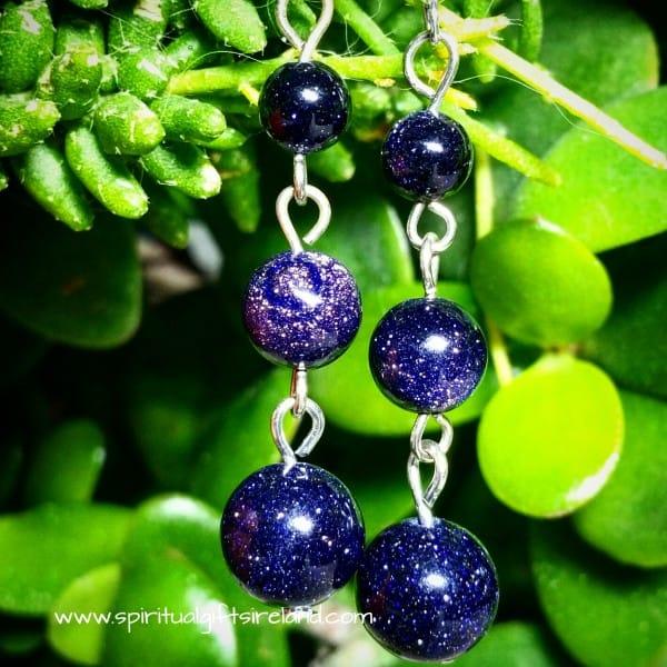 Blue Goldstone Earrings Silver Hooks