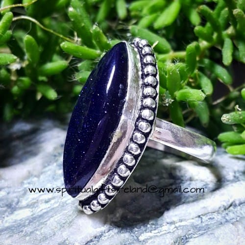 Blue Goldstone Sterling Silver Ring