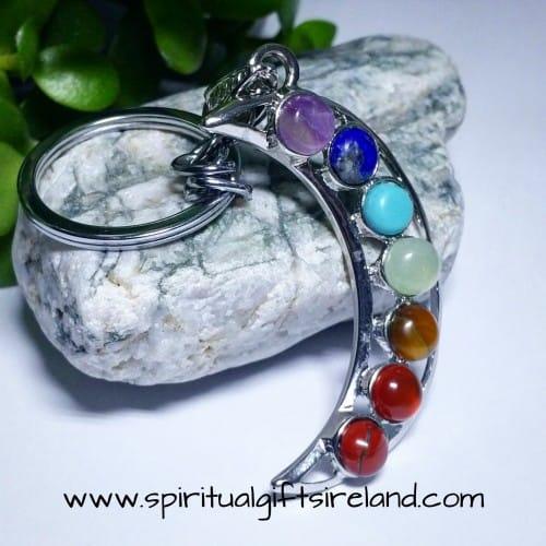 Chakra Crystal Gemstone Moon Crescent Keychain Keyring (2)