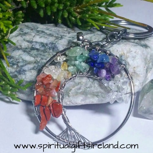 Tree of Life Chakra Gemstone Crystal Keyring