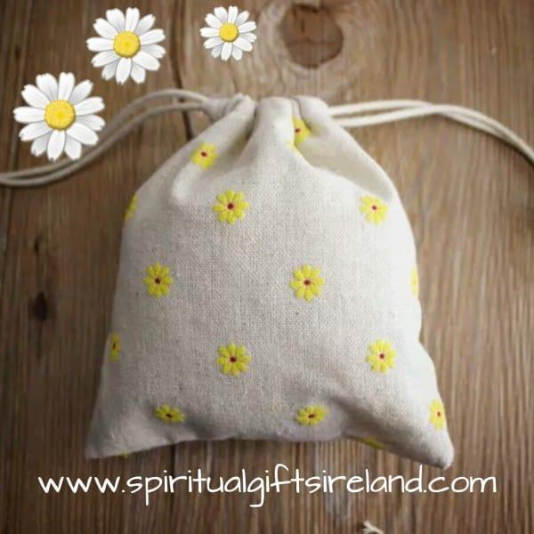 Daisy Print Cotton Drawstring Bags