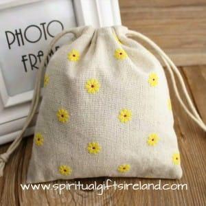 Daisy Print Cotton Drawstring Pouches