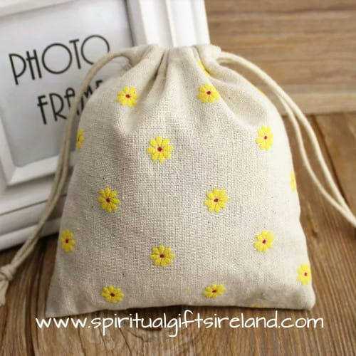 Daisy Print Cotton Linen Mix Drawstring Pouches