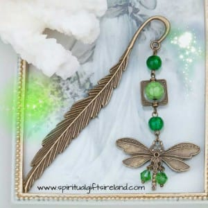 Dragonfly Feather Antique Bronze Bookmark