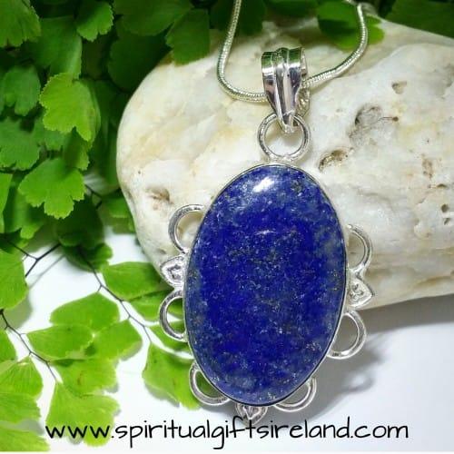 Lapis Lazuli Gemstone Crystal Pendant Sterling Silver