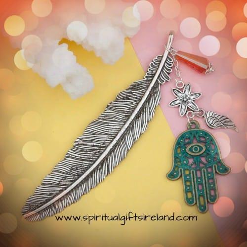 Reiki Hamsa Hand Feather Bookmark