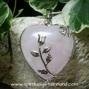 Rose Quartz Silver Rose Pendant