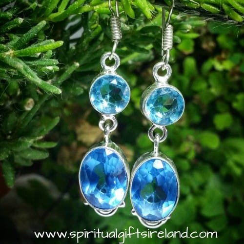 Aquamarine Blue Topaz Two Stone Sterling Silver Gemstone Crystal Earrings