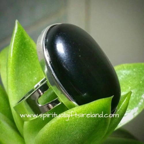 Black Onyx Crystal Gemstone Ring Adjustable Size