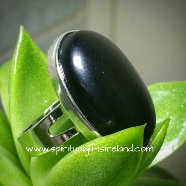 Black Onyx Adjustable Crystal Ring