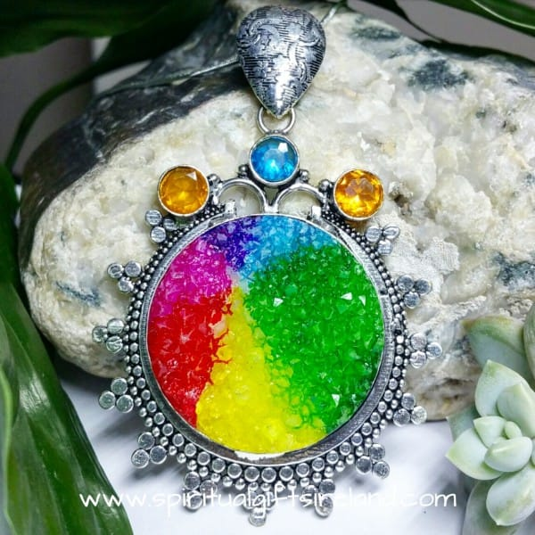 Druzy Quartz Huge Rainbow Pendant