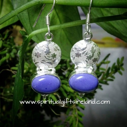 Purple Chalcedony Sterling Silver Earrings