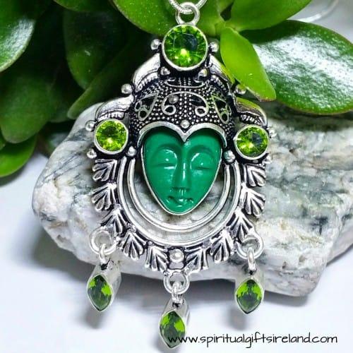 Peridot Goddess Queen Sterling Silver Gemstone Crystal Pendant