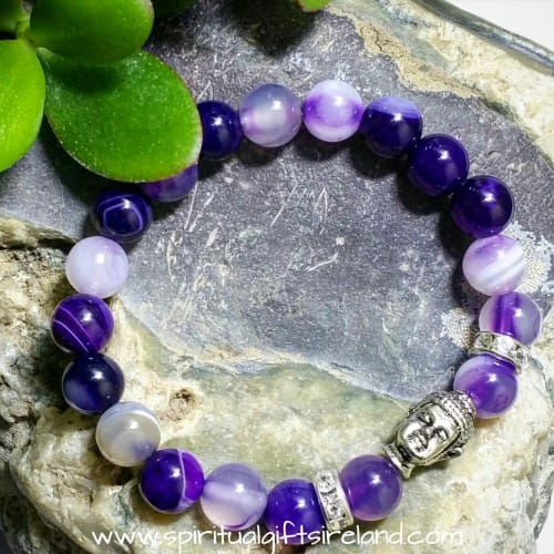 Purple Agate Crown Chakra Buddha Bracelet