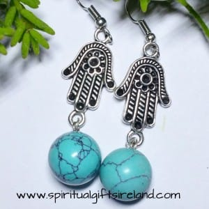 Turquoise Gemstone Reiki Hand Earrings