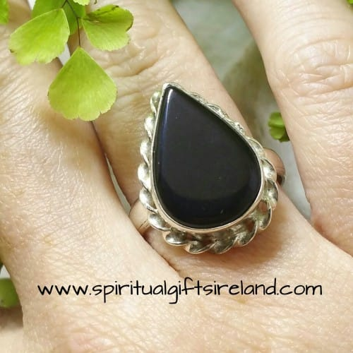 Black Onyx Crystal Gemstone Waterdrop Ring Sterling Silver