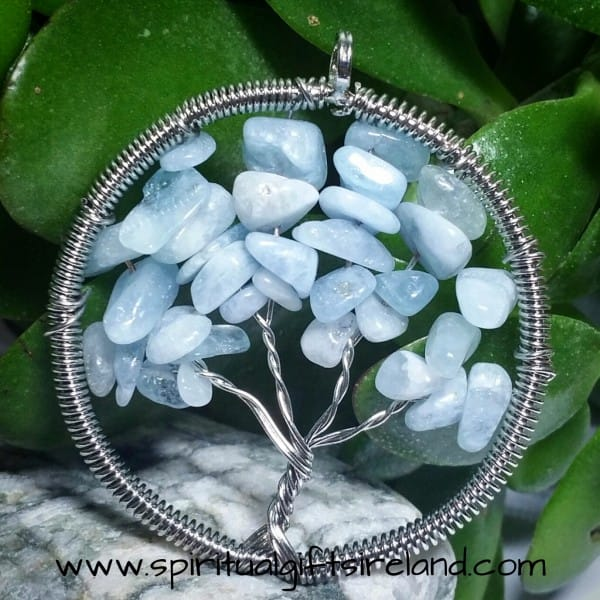 Blue Lace Agate Tree of Life Gemstone Crystal Necklace