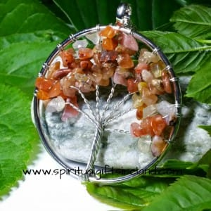 Carnelian Tree of Life Gemstone Crystal Pendant