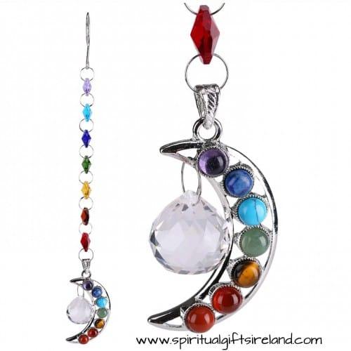 Chakra Rainbow Moon Crescent Swarovski Crystal Hanging Suncatcher