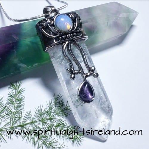 Clear Quartz Moon Goddess Crystal Gemstone Pendant
