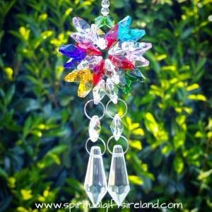 Double Strand Twin Flame Rainbow Swarovski Crystal Suncatcher