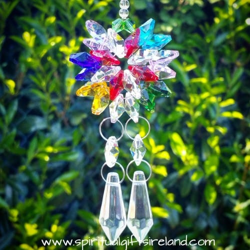 Double Strand Twin Flame Rainbow Swarovski Crystal Suncatcher