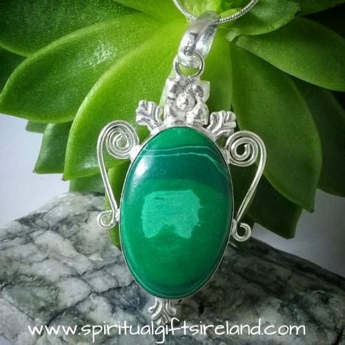 Malachite Gemstone Pendant Sterling Silver