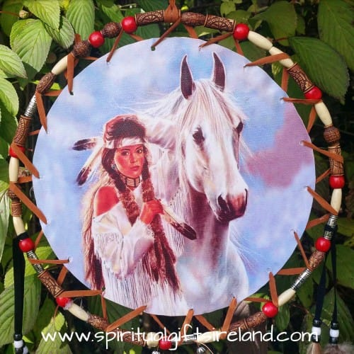 Native American Horse Dreamcatcher Extra Large 3 Ring