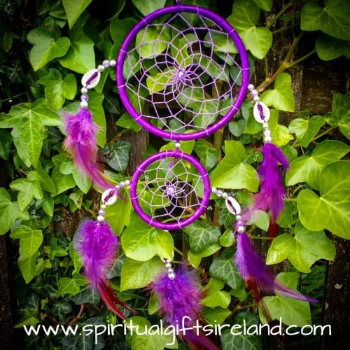 Purple Fluffy Feather Two Ring Dream Catcher