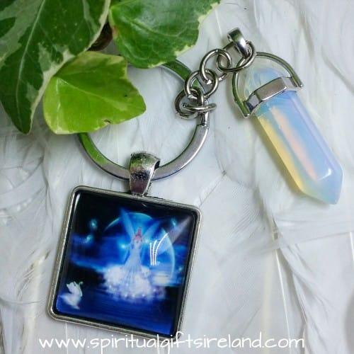 Angel Opalite Crystal Gemstone Keychain Keyring