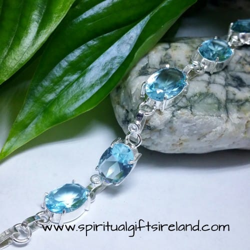 Aquamarine Handcrafted Sterling Silver Crystal Gemstone Bracelet
