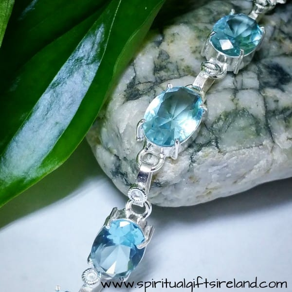 Aquamarine Handcrafted Sterling Silver Crystal Gemstone Bracelet