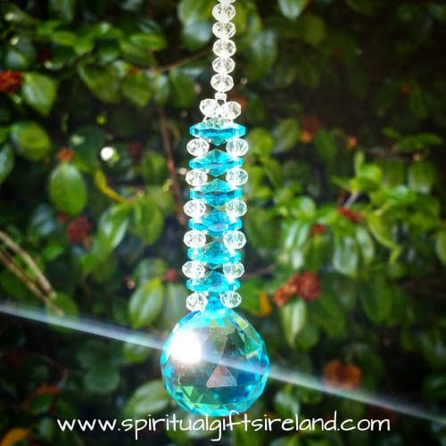 Archangel Michael Blue Light Swarovski Crystal Rainbow Suncatcher