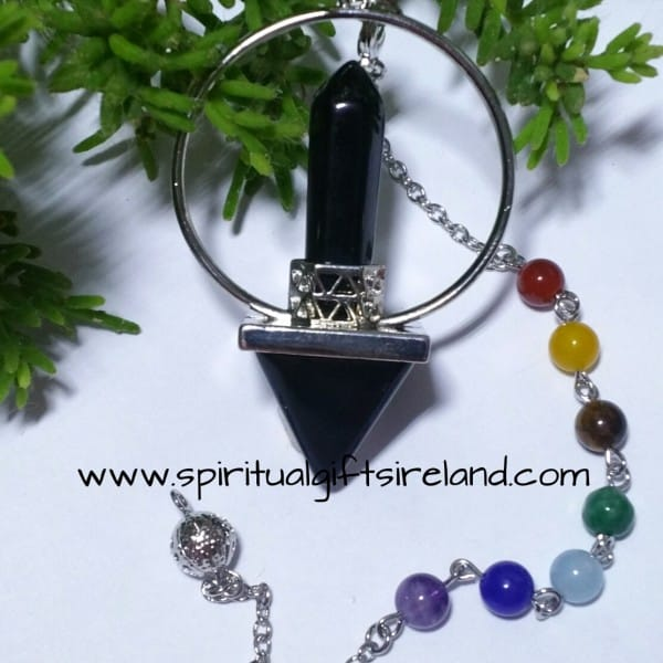 Black Obsidian Double Point Chakra Pendulum