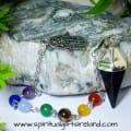 Chakra Black Onyx Mirror Reflecting Reiki Hand Dowsing Pendulum (2)