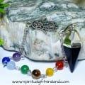 Chakra Black Onyx Mirror Reflecting Reiki Hand Dowsing Pendulum (3)
