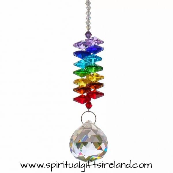 Chakra Rainbow Twin Crystals Swarovski Hanging Suncatcher