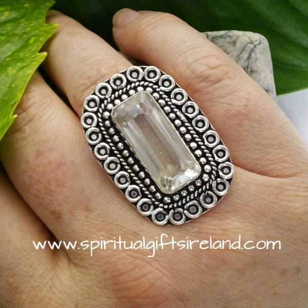 Clear Quartz Crystal Gemstone Huge Statement Ring