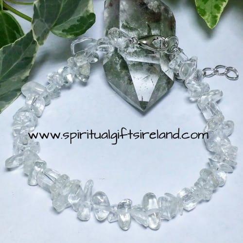 Clear Quartz Gemstone Crystal Chip Harmony Bracelet